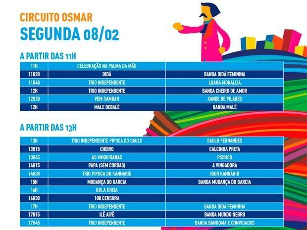 Programação de Segunda (Foto: Divulgação/Prefeitura de Salvador)