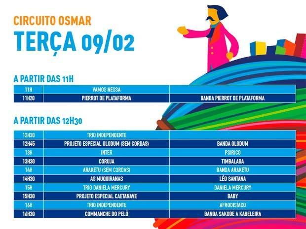 Programação de terça (Foto: Divulgação/Prefeitura de Salvador)