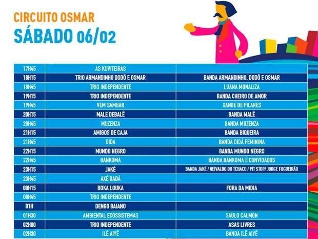 Programação de sábado  (Foto: Divulgação/Prefeitura de Salvador)