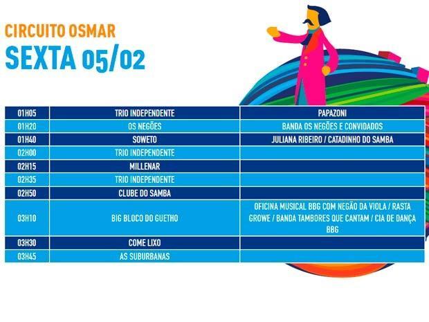 Programação de sexta-feira  (Foto: Divulgação/Prefeitura de Salvador)