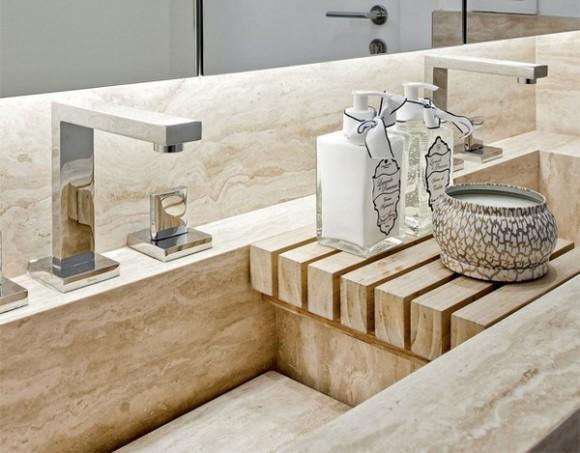 Bancada do lavabo em mármore. (Foto Ilustrativa)