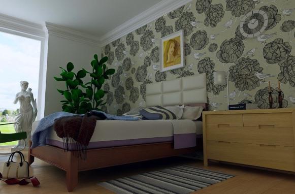 Papel de parede na decoração do quarto. (Foto Ilustrativa)