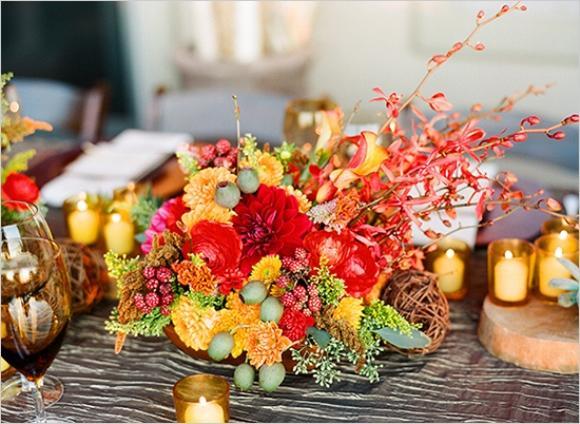 Arranjo de casamento de outono. (Foto: Reprodução/Hibride)