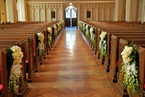 decoracao de igreja para casamento azul e amarelo : decoracao de igreja para casamento azul e amarelo:Igreja decorada de forma simples para casamento. (Foto Ilustrativa)