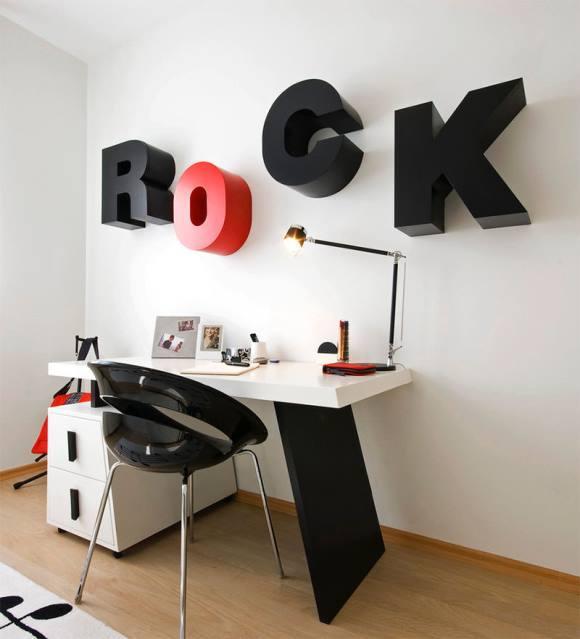 É fundamental imprimir a personalidade do jovem na decoração. (Foto Pebble Design)