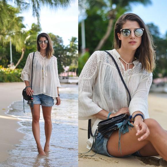 Blusa soltinha + short jeans. (Foto Ilustrativa)