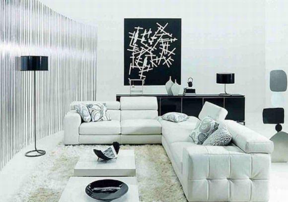 Sala decorada em preto e branco (Foto Ilustrativa)