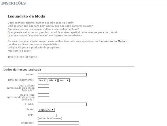 Formulário de inscrição Esquadrão da Moda (Foto: Reprodução SBT)
