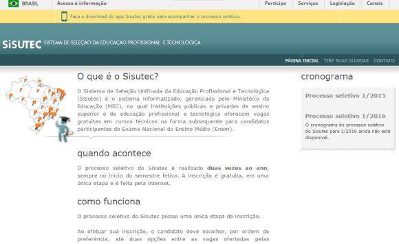Página do Sisutec para inscrições (Foto Ilustrativa)