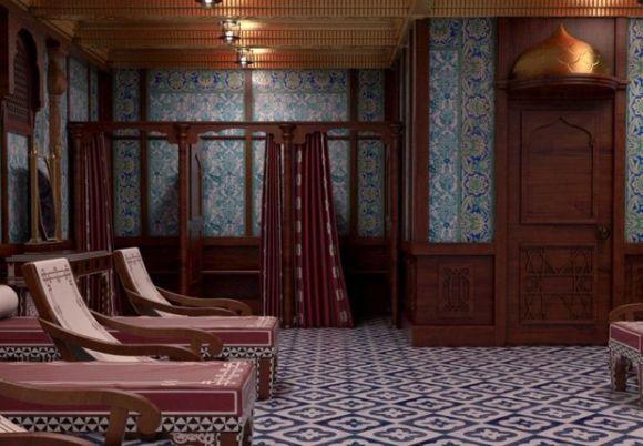 Sala de banho turco do novo Titanic (Foto: Divulgação Blue Line)