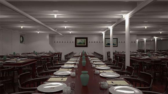A sala de jantar da terceira classe no Titanic 2 (Foto: Divulgação Blue Line)
