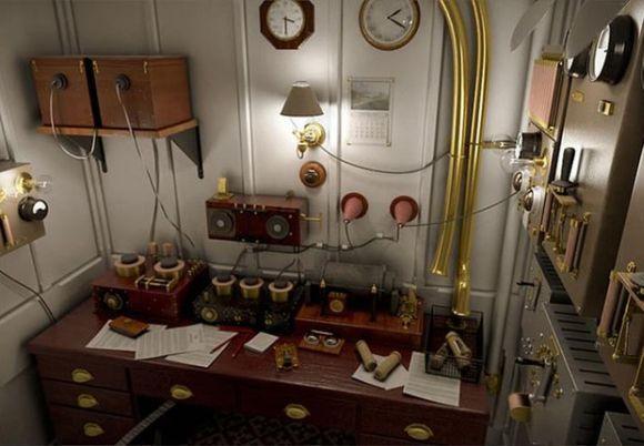 A Sala Marconi, onde funcionava o telégrafo no Titanic original, ganhou uma réplica, apenas para visitação (Foto: Divulgação Blue Line)
