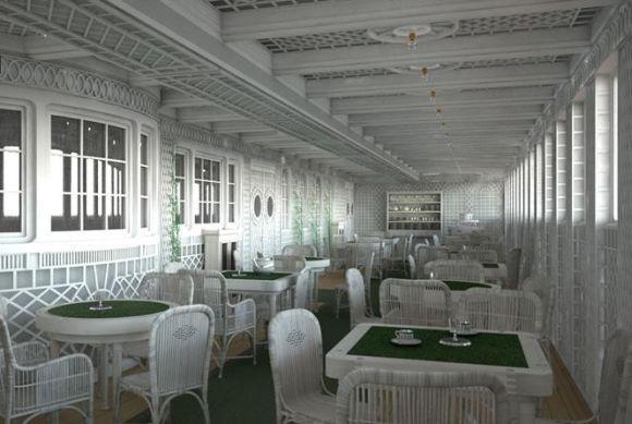 O novo Titanic terá uma versão bem parecida do Café (Foto: Divulgação Blue Line)