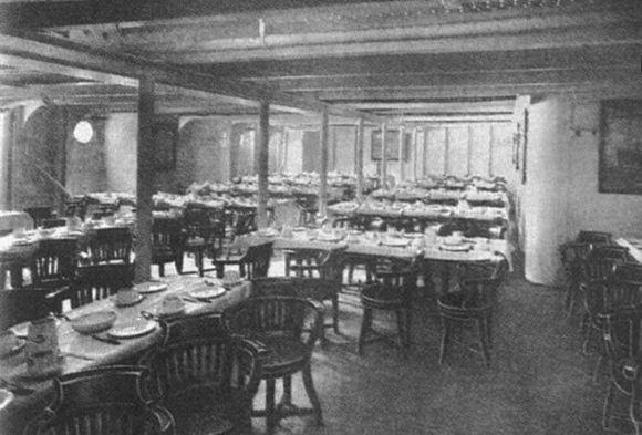 Sala de jantar da terceira classe em 1912 (Foto Ilustrativa)