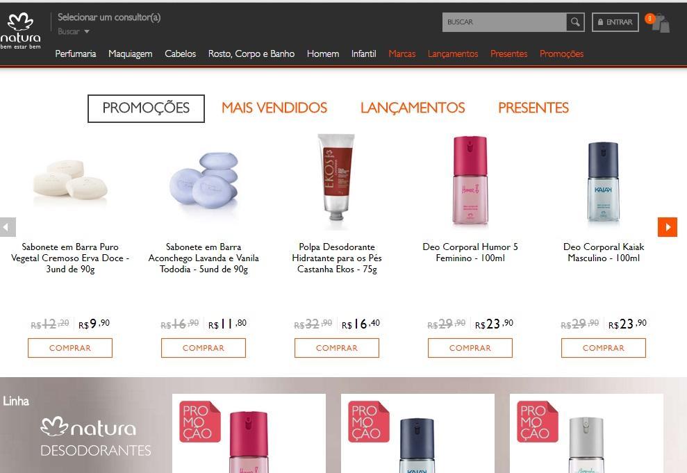 Você consegue ver um produto e outros similares (Foto: Reprodução/Site da Natura)
