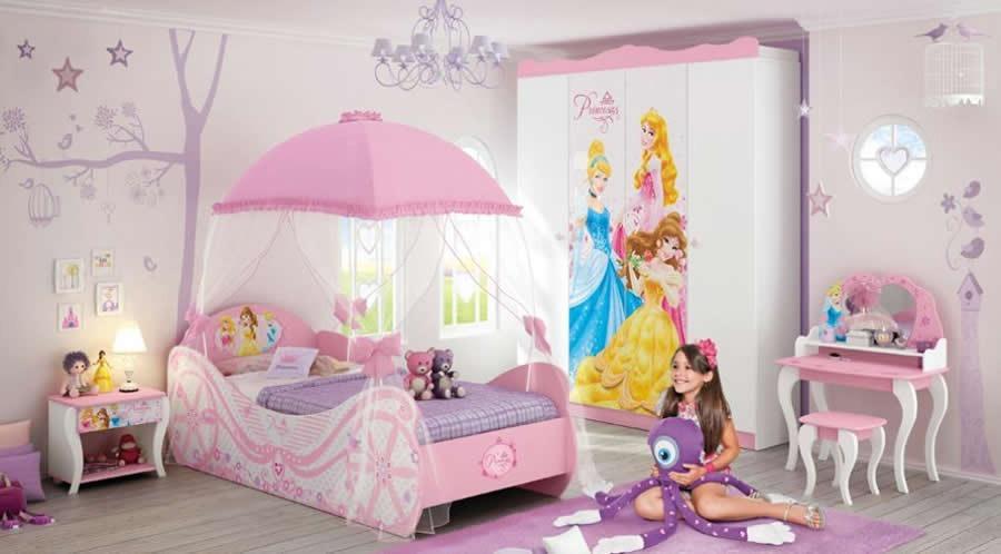 Decoração em quarto infantil com princesas (Foto: Ilustração)