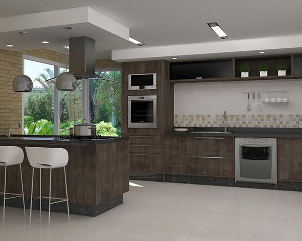 Espaço fica maior com cozinha planejada (Foto: Casa Construída)