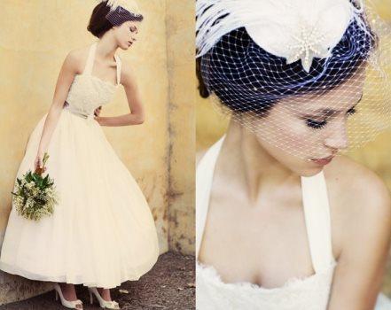 O vestido de noiva com estilo anos 50 tem a cintura marcada. (Foto:Divulgação)