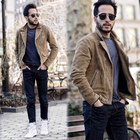 Jaqueta de tom terroso + camiseta + calça jeans