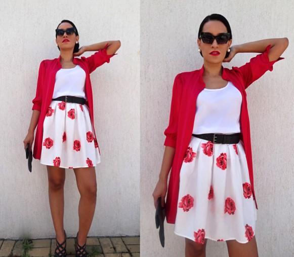 Saia floral + blusa branca. (Foto Ilustrativa)