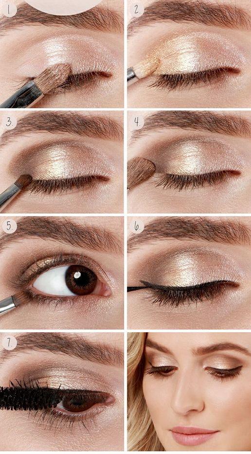 Maquiagem simples dourada