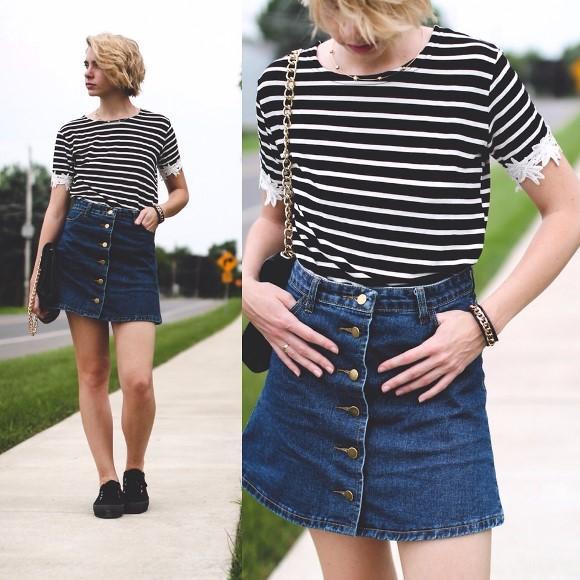 Look com saia jeans com botão na frente. (Foto Ilustrativa)