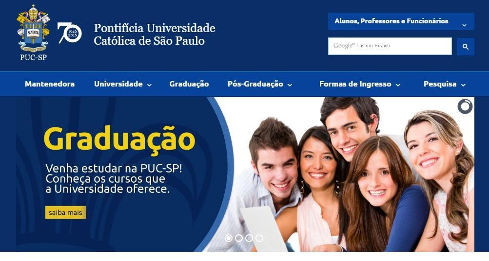 Site da PUC SP (Foto: Reprodução/PUC)