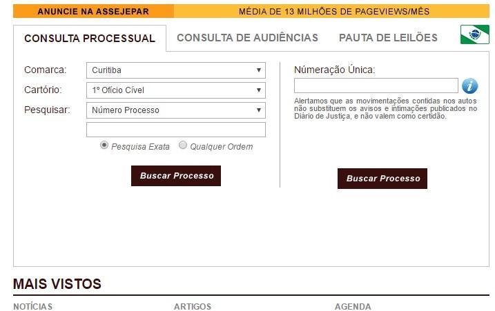 Faça consulta no site da Assejepar (Foto: Reprodução/Assejepar)