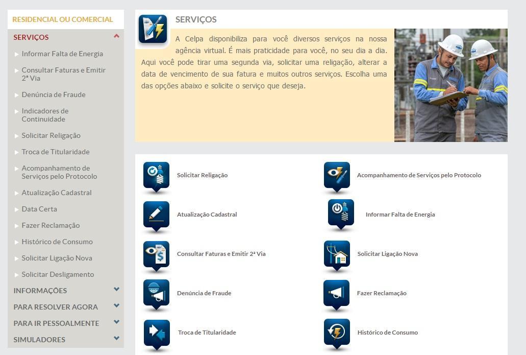 Outros serviços da Celpa (Foto: Reprodução/Celpa)