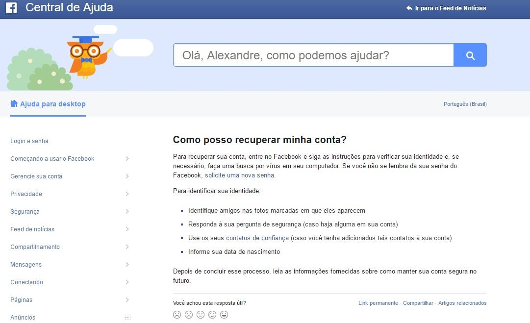 Central de Ajuda do Facebook Foto: Reprodução/Facebook)