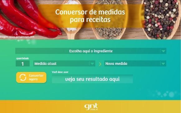 Conversor de medidas do GNT. (Foto: Divulgação)