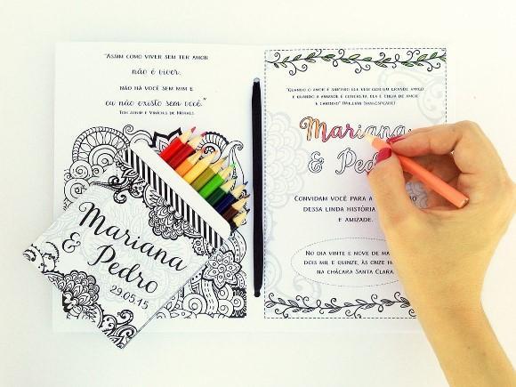 Convite de casamento para colorir. (Foto: Reprodução/Elo7)