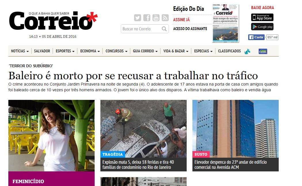 Correio da Bahia Online, Classificados, Empregos (Foto: Reprodução/Correio da Bahia)