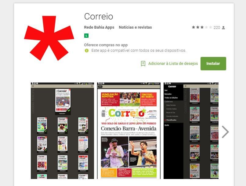 Você pode baixar o app do jornal (Foto: Reprodução/Correio da Bahia)