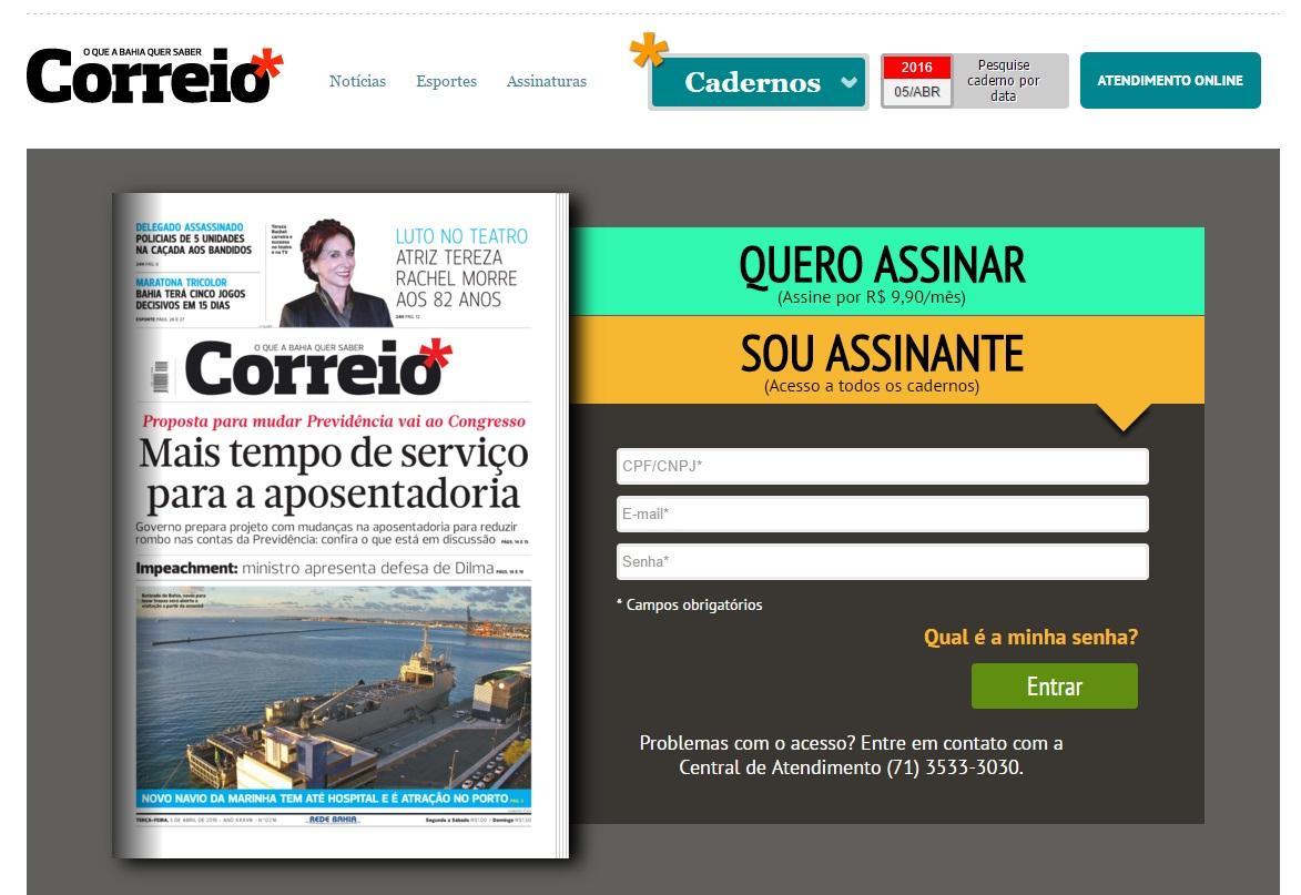 Seja um assinante e receba o jornal em sua casa (Foto: Reprodução/Correio da Bahia)
