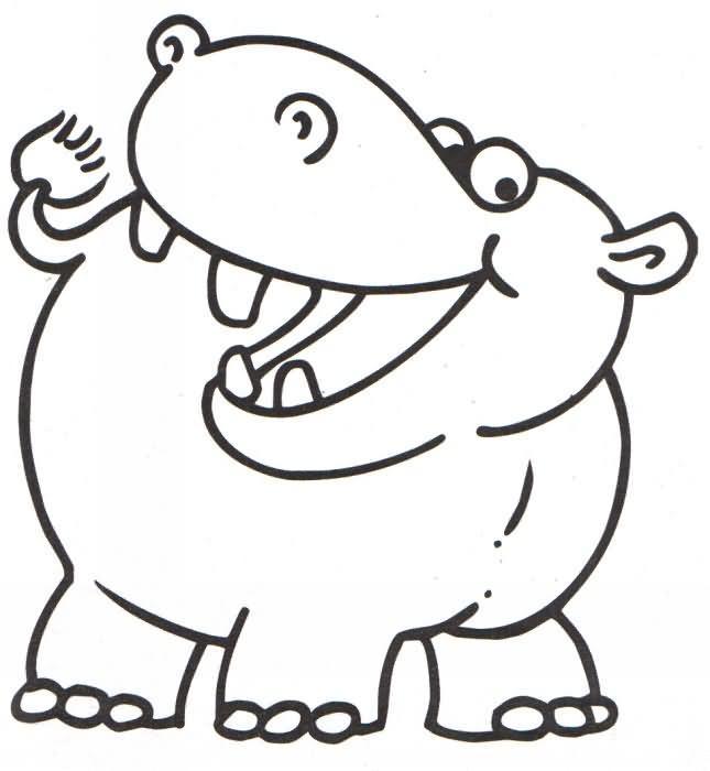 Hipopótamo para colorir (Foto: Divulgação)