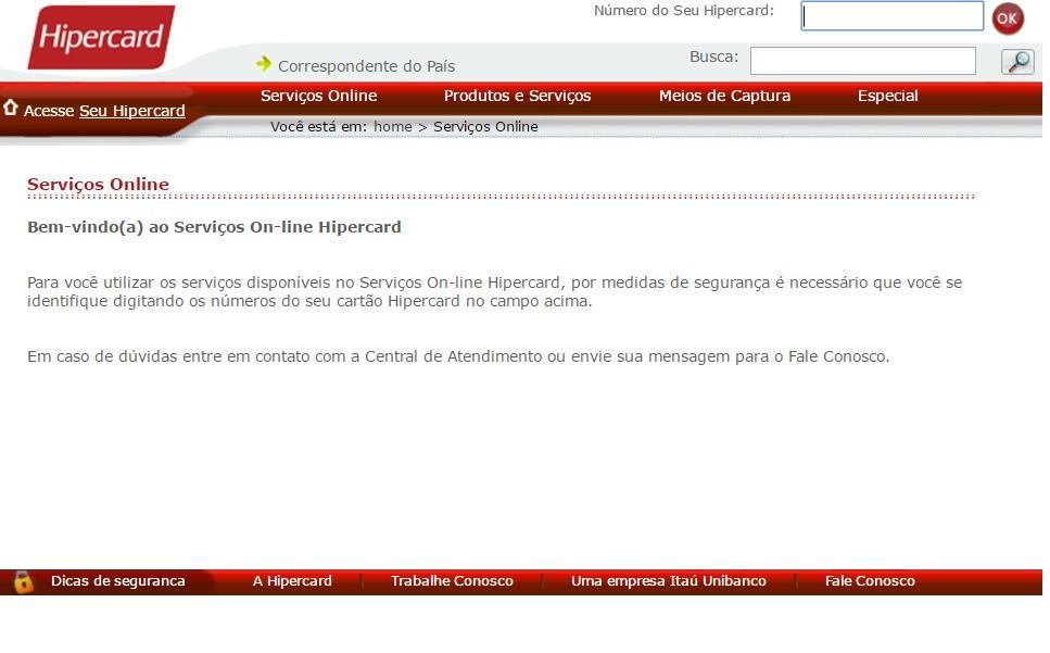 Acesse o site do Hipercard para consultar sua fatura (Foto: Reprodução/Hipercard)