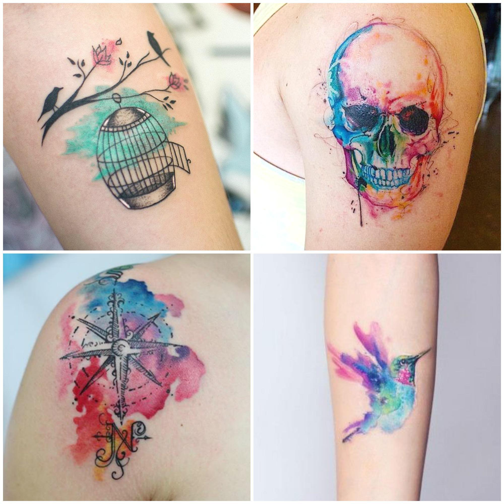 Modelos de tatuagens em aquarela (Foto: Divulgação)