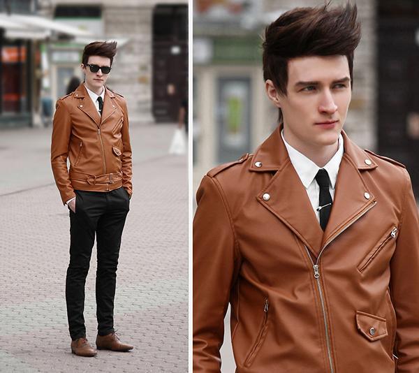 Jaqueta de couro marrom (Foto: Reprodução/Macho Moda)