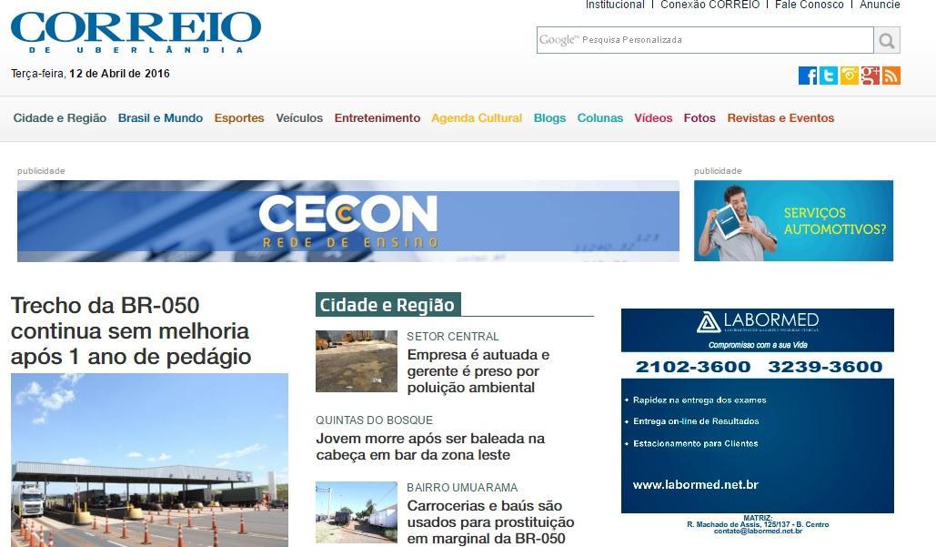 Site Correio de Uberlândia - Vagas de emprego (Foto: Reprodução/ Correio de Uberlândia)