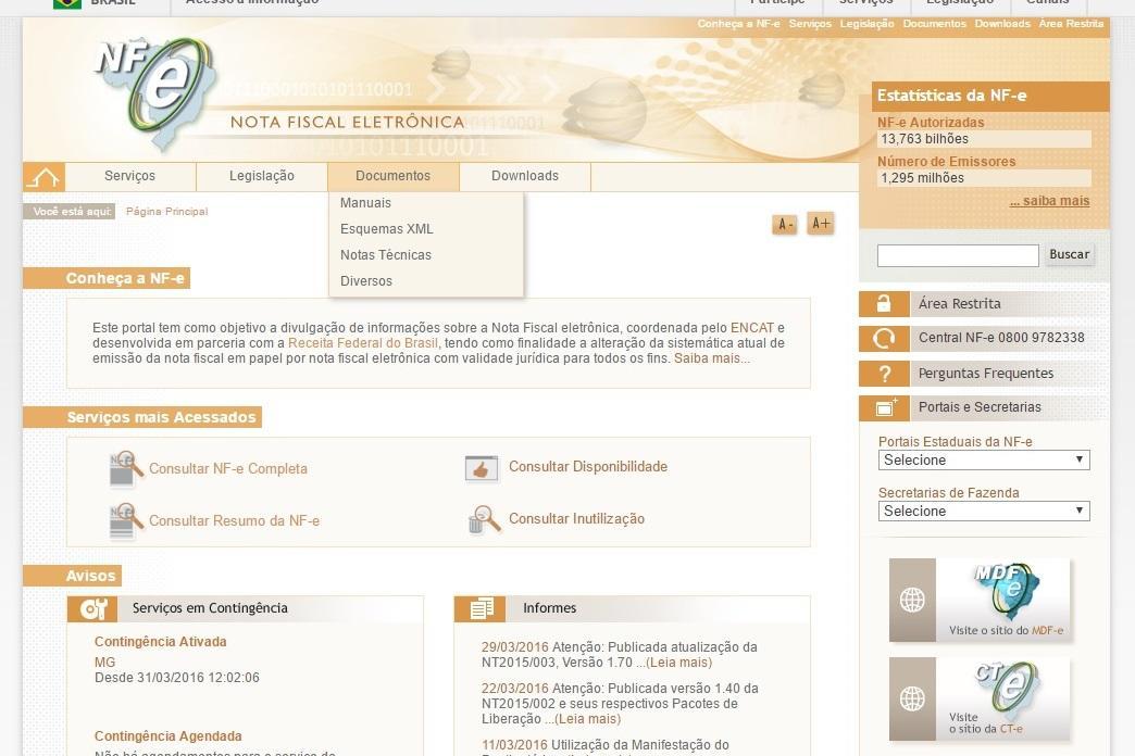 Acesse o site e confira os serviços disponíveis (Foto: Reprodução/Nota Fiscal Eletrônica)