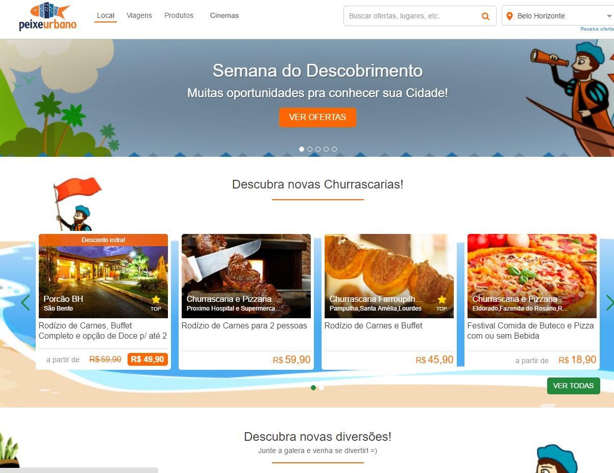 Ofertas do Peixe Urbano em Belo Horizonte (Foto: Reprodução/Peixe Urbano)