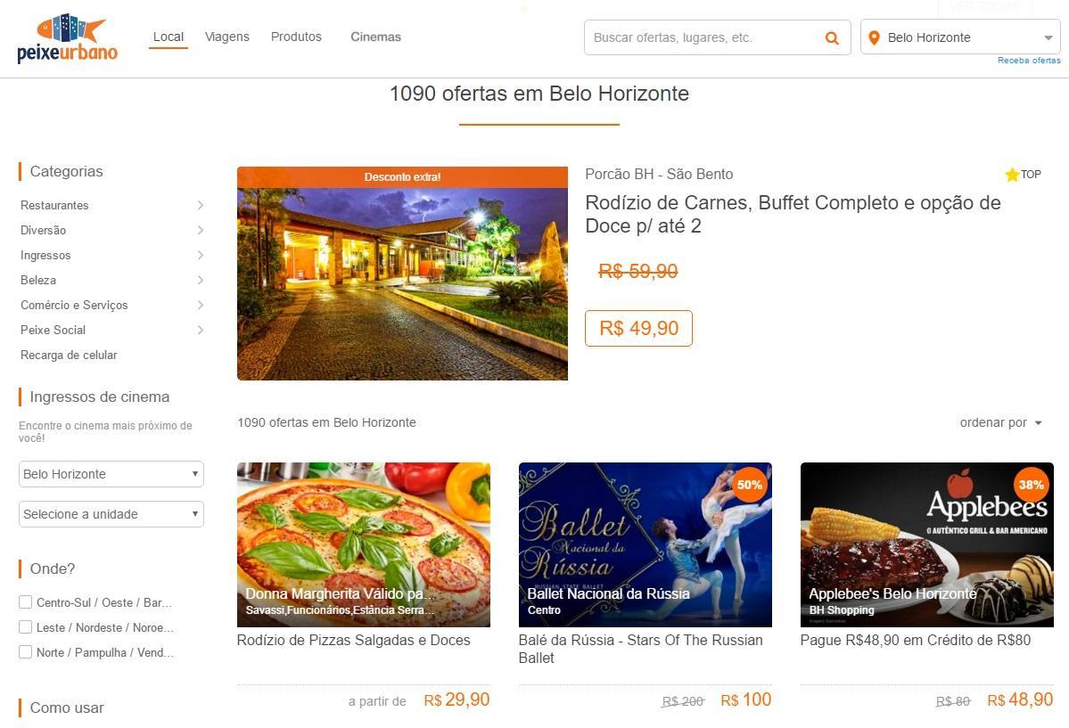 Peixe Urbano tem várias ofertas em BH (Foto: Reprodução/Peixe Urbano)