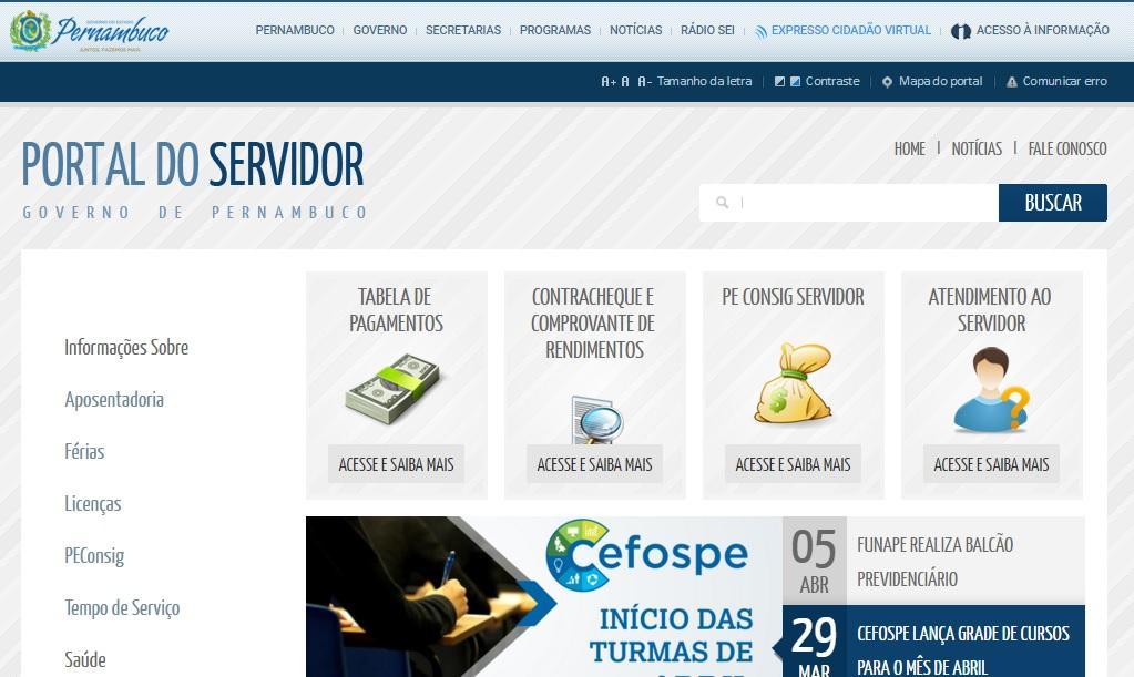 Saiba como acessar o sistema do servidor público de Pernambuco (Foto: Reprodução/Portal do Servidor)