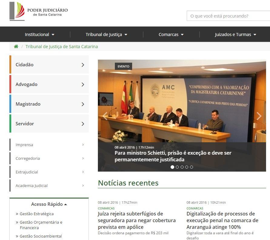 Consulte o processo no TJSC (Foto: Reprodução/Tribunal de Justiça de Santa Catarina)