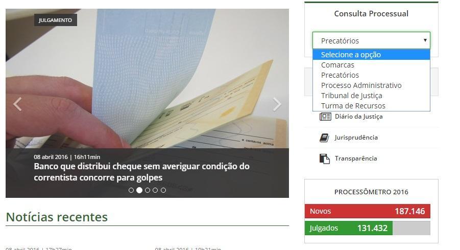 Escolha a opção do TJSC para fazer a consulta do processo (Foto: Reprodução/Tribunal de Justiça de Santa Catarina)