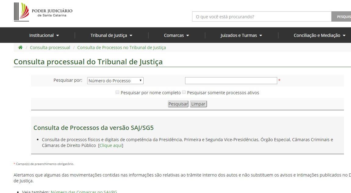 Coloque o número do processo que está no TJSC (Foto: Reprodução/Tribunal de Justiça de Santa Catarina)
