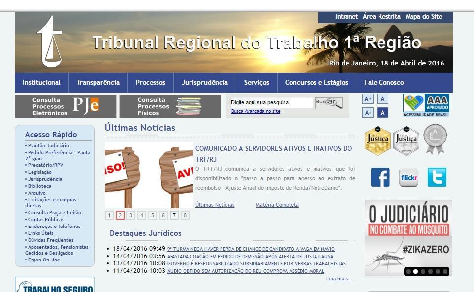 Site TRT Rio de Janeiro (Foto: Reprodução/TRT Rio de Janeiro)