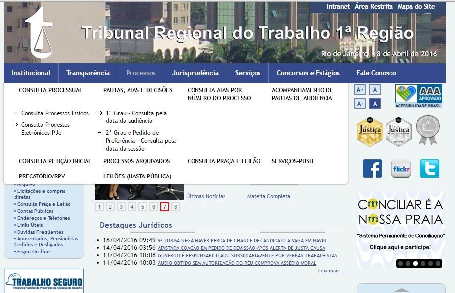 Consulta processual no site do TRT Rio de Janeiro (Foto: Reprodução/TRT Rio de Janeiro)