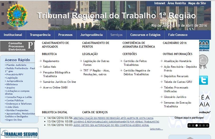 Outros serviços do TRT Rio (Foto: Reprodução/TRT Rio de Janeiro)